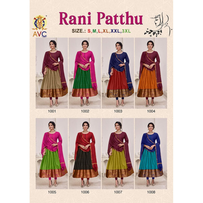 Avc Rani Patthu Silk Jacquard Gowns With Dupatta