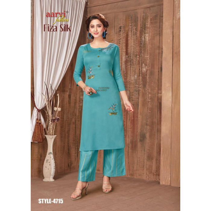 Aarvi Fiza Silk Vol 1 Jam Satin Long Kurtis