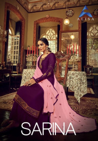 Alisa Sarina Satin Georgette Heavy Salwar Suits