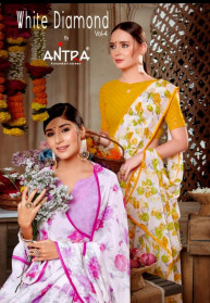 Antra White Diamond Vol 4 Witless Printed Sarees
