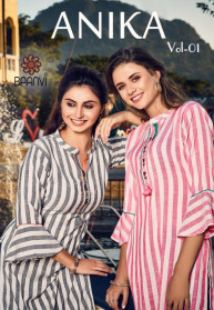Baanvi Anika Vol 1 Rayon With Work Kurtis