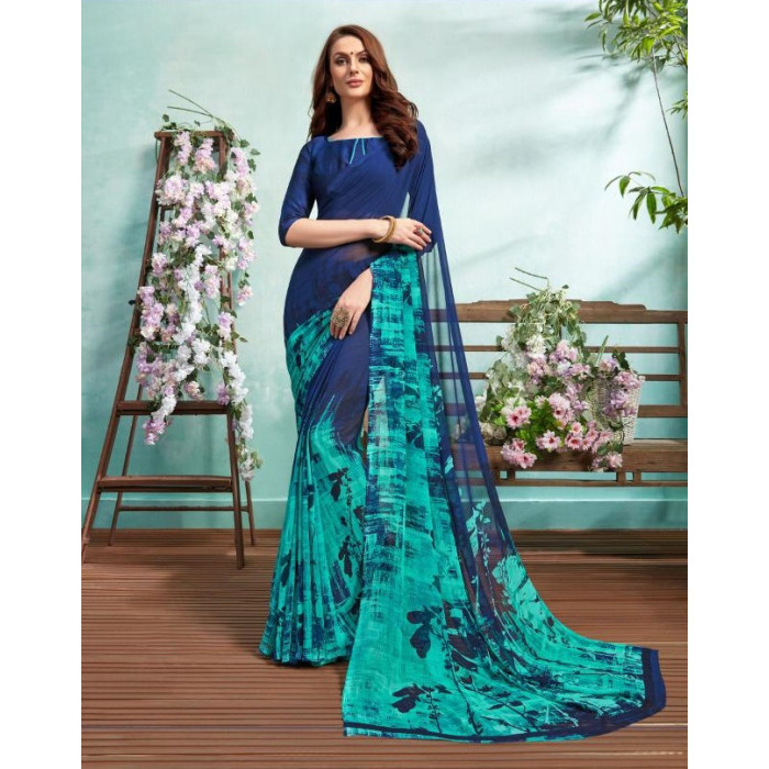 Bela Crystal Georgette Colourful Ladies Sarees