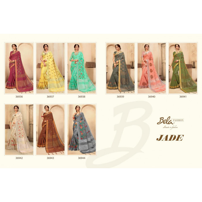 Bela Jade Linen Work Fancy Indian Sarees