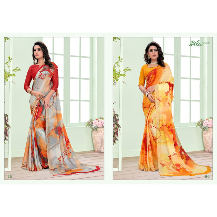 Bela Shimmer Georgette With Zari Sarees
