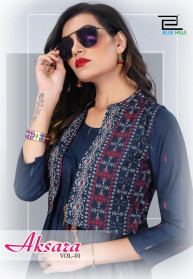 Blue Hills Aksara Vol 1 Rayon 14KG Kurtis With Koti
