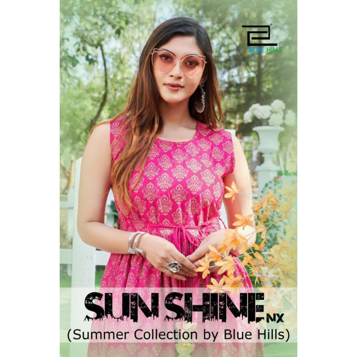 Blue Hills Sun Shine Rayon Kurtis With Belt
