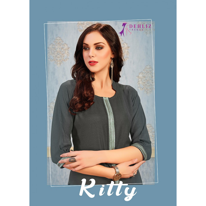 Dehliz Trends Kitty Magic Slub Kurtis With Plazzo
