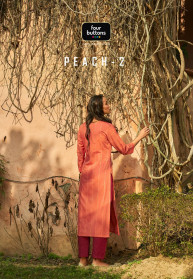 Four Buttons Peach Vol 2 Cotton Kurtis With Bottom