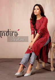 Indira In Line Cotton Weaved Kurtis With Pants