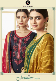 Kalarang Jasmin Vol 9 Jam Silk Cotton Dress Materials