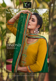 Kessi Diamond Patiyala Jam Silk Dress Materials