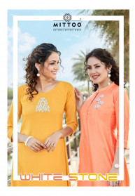 Mittoo White Stone Ladies Kurti Collection