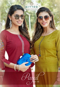 Mittoo Payal Vol 15 Viscose Rayon Straight Kurtis