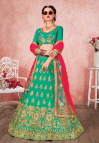 Heavy Designer Embroidered Satin Silk Lehenga Choli