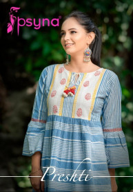 Psyna Presthi Cotton Short Round Kurtis Set