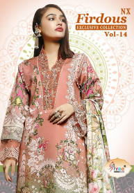 Shree Fabs Firdous Exclusive Vol 14 Nx Lawn Suits