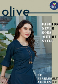 Vitara Olive Swiss Slub Fabric Exclusive Kurtis