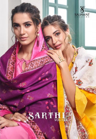 Sajawat Sarthi Vol 10 Muslin Embroidery Gowns